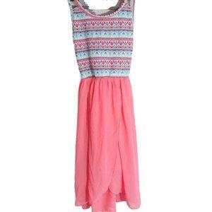 Boho aztec girls pink spring dress 10